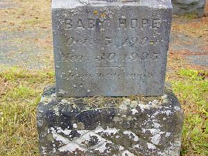 Baby Hope gravestone
