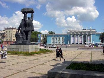 Soviet era statue in Karaganda square