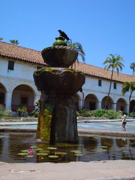 fountain in front of Mission Santa Barbara