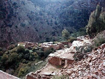 view of hillside village in Morocco
