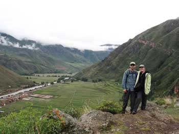 the author and his wife returning to town of Pisac