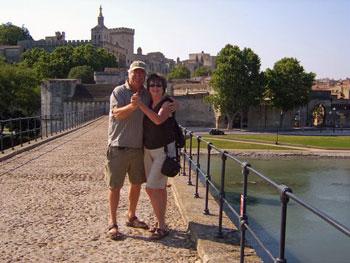 Rick and Chris Millikan on the bridge in Avignon