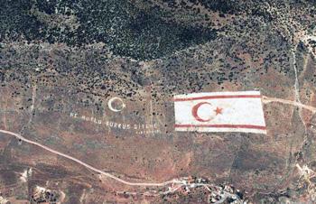 Northern Cyprus flag drawn on hillside