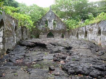 church in lava fields