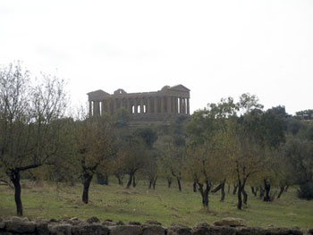 Agrigento temple behind trees