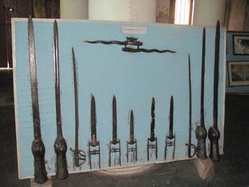 captured swords, spears, daggers