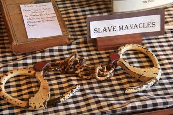 slave manacles and original copy of