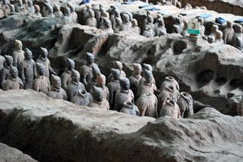 terracotta soldiers in thke ground