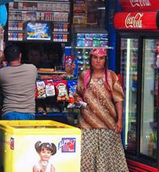 Roma woman in shop