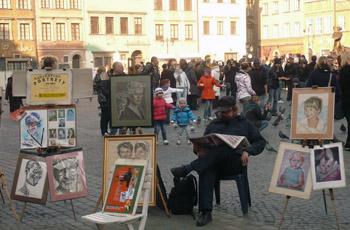 artist in Warsaw square