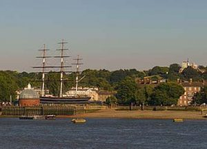 Greenwich pier with Cutty Sark moored