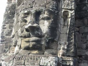 face in stone tower
