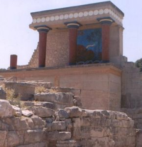 Minoan columns and platform at Knossos