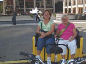 Ruth Kozak (right) and friend in New York pedi-cab