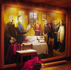 mural with Douglas holding scroll near Matthew Begbie