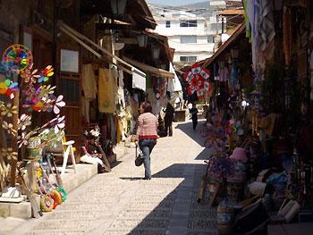 shopper in market in Byblos, Lebanon
