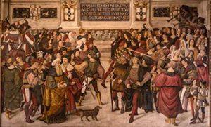 fresco of the papal coronation of Pius III