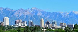 Salt Lake City skyline and mountains