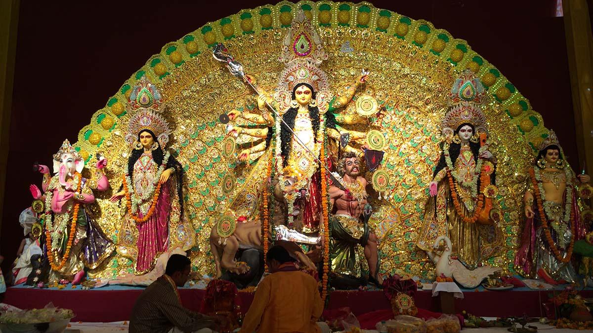 Goddess Durga and her four children