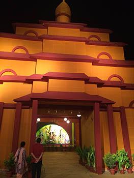Durga idol inside a pandal (tent)