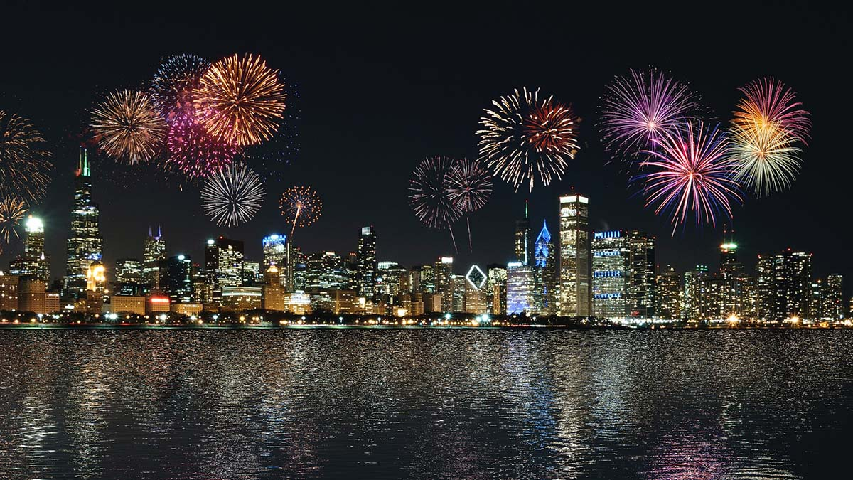 new year fireworks over city