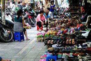 Hanoi old quarter street of shoes