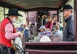 musicians in rail car