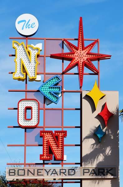 Neon Boneyard Park sign