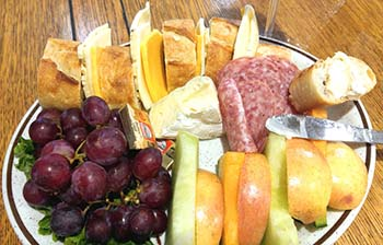 Fruit and cheese plate at Blue Heron