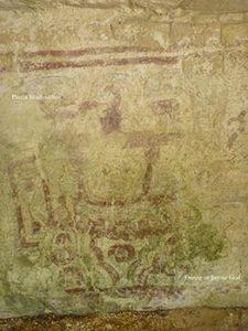 Maya diving god mural