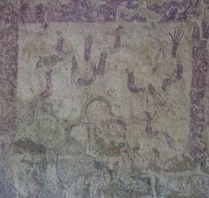 Maya bird mural