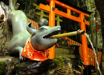 Japanese fox fountain