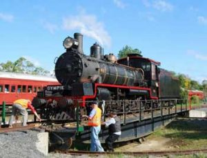 Historic steam locomotive engine on turntable at Bympie railway station