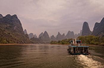 boating amidst karst formations