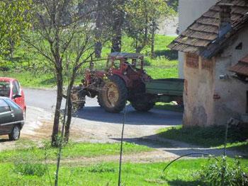 tractor in Slovenian village