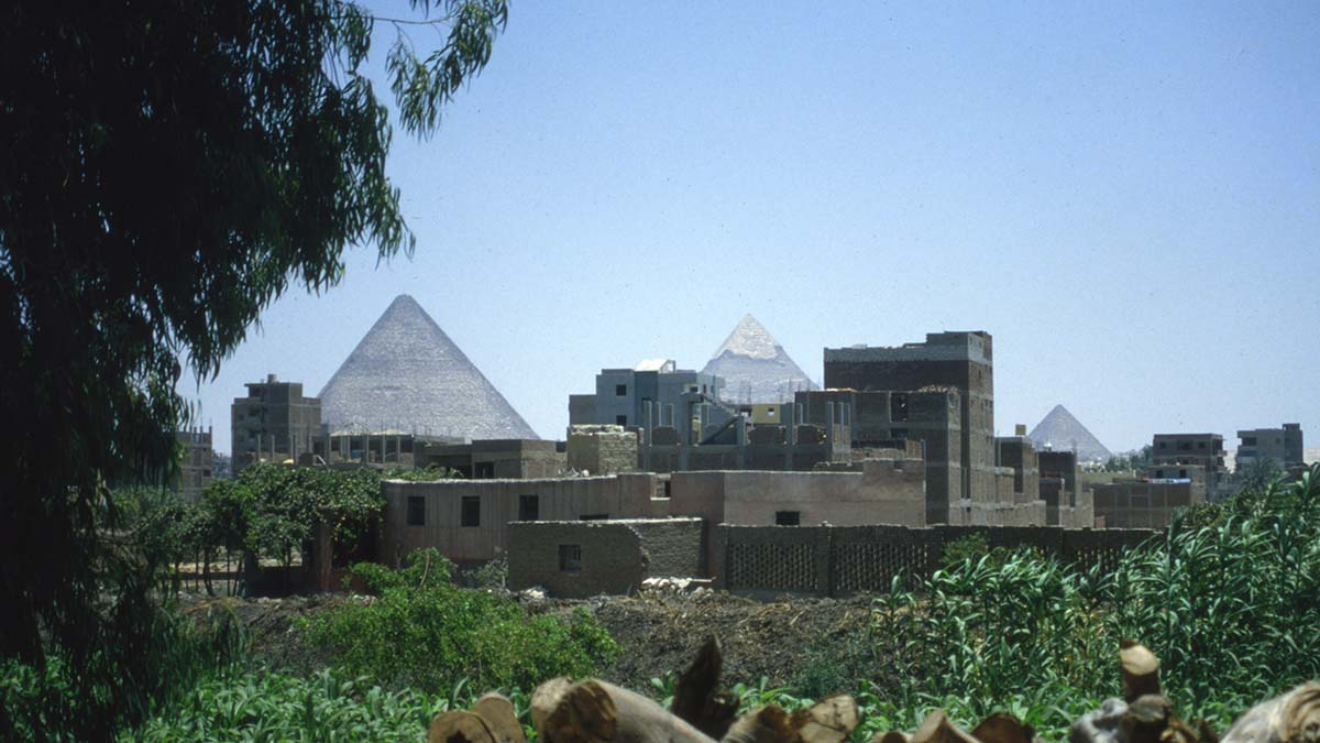 view of pyramids from Cairo