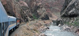 locomotive enters railroad canyon
