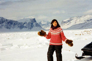 the author out in snowy Baffin Island, Nunavut