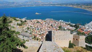 looking down at Nafplio, Greece