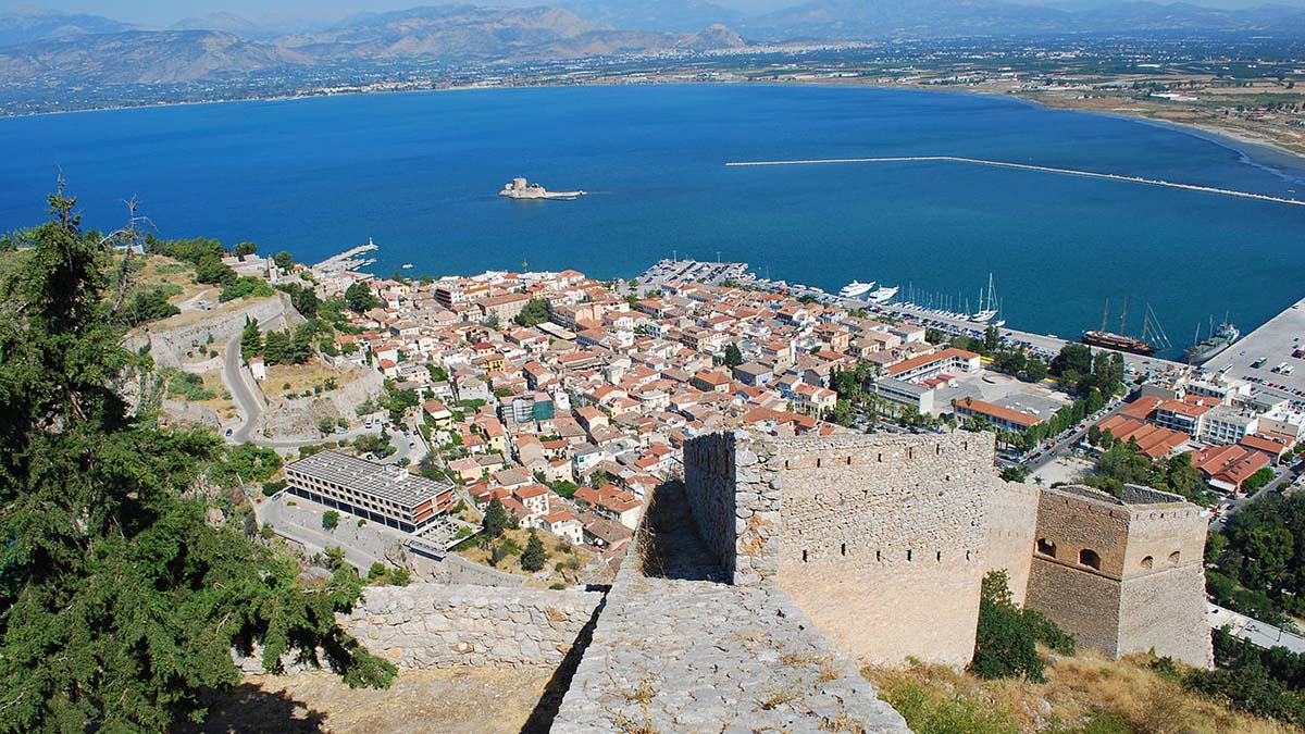 View of Nafplio, Greece from Palamidi castle