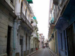 narrow street in Havana