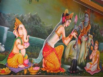Poster with Hindu goddess