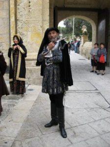 man wearing medieval wardrobe