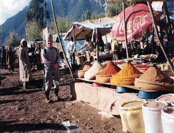 vendor selling spices in Morocco