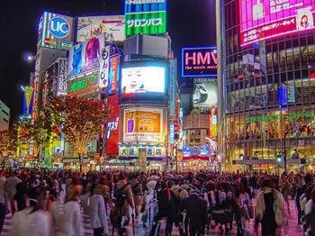 A crowd in street in Shibuya area of Tokyo