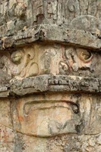skull carving at Tulum