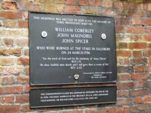 plaque comemmorating three Salisbury Protestant martyrs burned in 1156