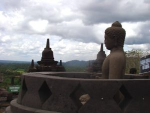 looking down from the top of Borobudur