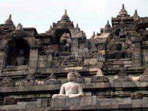 One of many Buddha statues at Borobudur