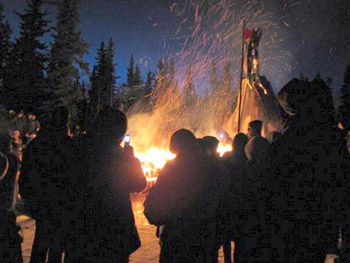 bonfire in Whitehorse, Yukon